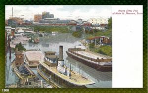 Bayou Scene, Foot of Main Street, Houston, TX 1908